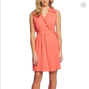 CeCe coral ruffle trim dress